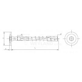 Konstrukční vrut s talířovou hlavou, TX